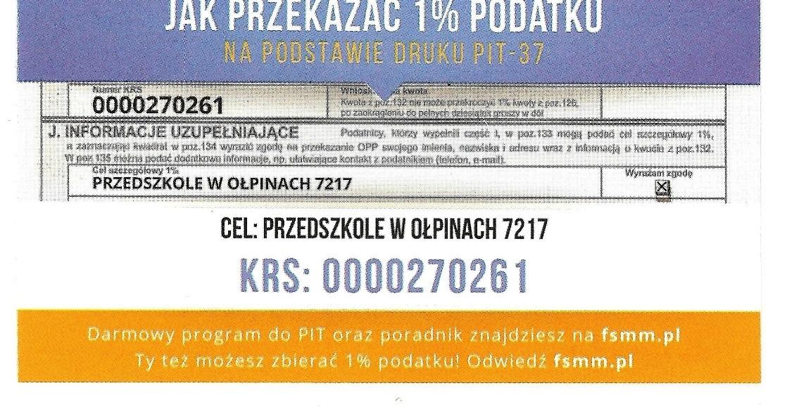 1% podatku na rzecz Publicznego Przedszkola w Ołpinach